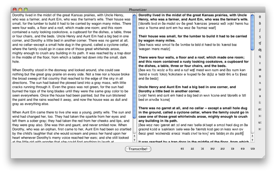 Screenshot of Phonetizer for Mac software for adding transcription to English texts